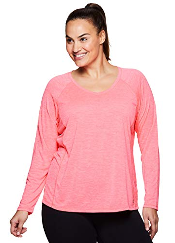 RBX Active Women's Plus Size Long Sleeve Workout V-Neck T-Shirt Pink -