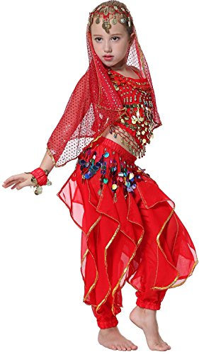 Seawhisper Kid's Newelly Dance Costume Girl Newollywood Dance TriNewal Halloween Costume(New style (Red Belly Dancing Costume)