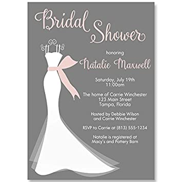 Bridal Shower Invitations Wedding Invites Elegant Gown Gray Pink