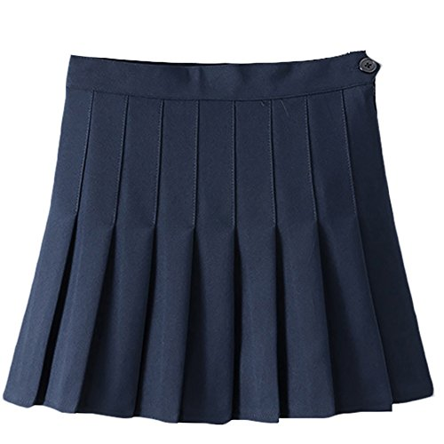 IWEMEK Women Girls Sports High Waist Flared Skater Mini Tennis Skirt School Uniforms Cosplay Pleated Short (Tennis Button)