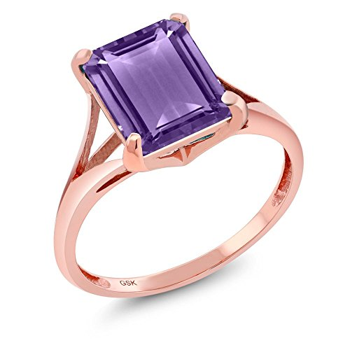 3.50 Ct Emerald Cut Purple Amethyst Gemstone Birthstone 14K Rose Gold Women's Ring (Available in size 5, 6, 7, 8, 9)