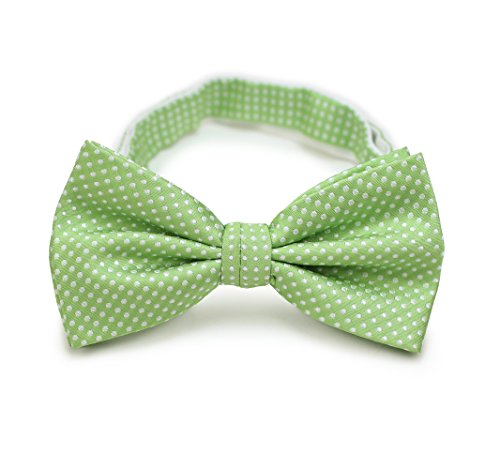 Bows-N-Ties Men's Pre-Tied Bow Tie Pin Dot Microfiber Adjustable Satin Bowtie (Midori Green) (Midori Satin)