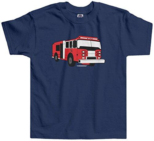 Threadrock Little Boys' Fire Truck Toddler T-shirt 3T Navy