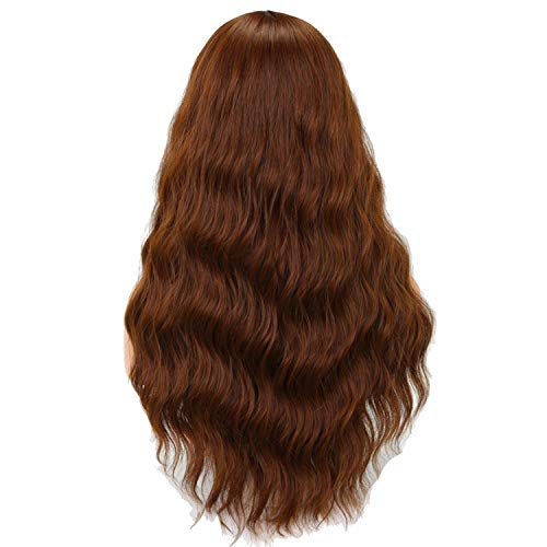 Carrie Long Wavy Wigs For Black Women African American Synthetic Hair Grey Brown Wigs With Bangs Heat Resistant Wig,Light Brown,24Inches