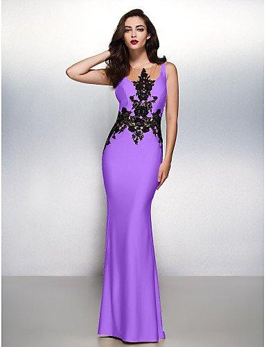 Formal amp;OB Cepillo HY Lilac Vestido Trompeta Tren Apliques Gala Prom Negro Con De Cuello Sirena Barrer Jersey Noche Boca Lazo PAAYrxd