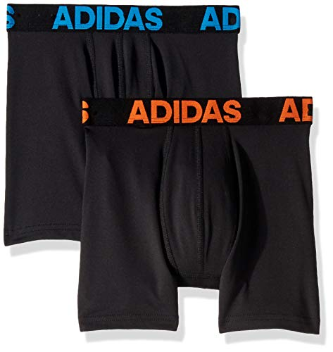 adidas Boys / Youth Sport Performance Climalite Boxer Brief Underwear (2-Pack) multi xl, black/orange black/bright blue, X-Large