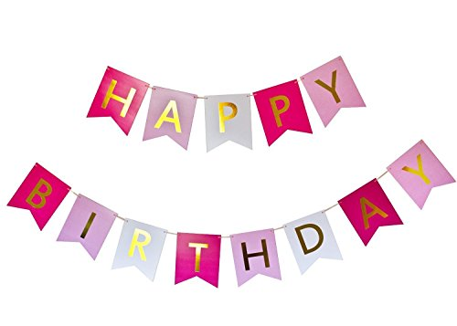 ELSKY Happy Birthday Banner, Hot Pink, Pastel Pink, White & Gold Party (Free Banner Templates)