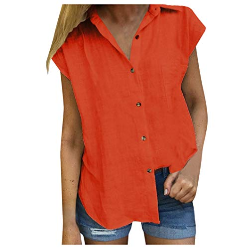 Pintuck Linen Shirt - Hosamtel Women Shirt Short Sleeve Button Down Pocket Solid Summer Fashion Casual Elegant Cotton Linen T-Shirt Tops Blouse Orange