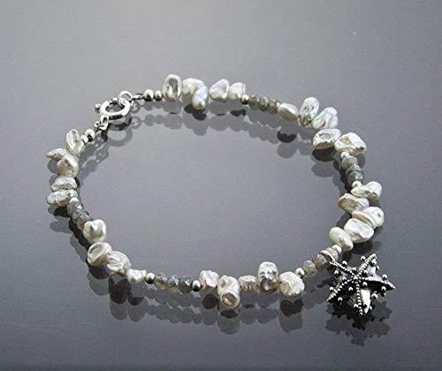 (Beach Jewelry Starfish Charm with Keishi White Pearls Sterling Silver Labradorite Beaded Bracelet 7.75