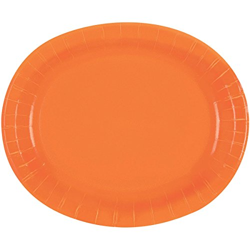12\  Orange Oval Paper Plates 8ct  sc 1 st  Amazon.com : divided paper plate trays - pezcame.com