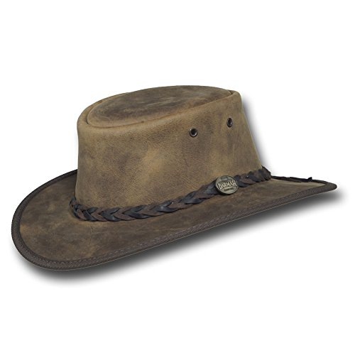Barmah Hats Foldaway Bronco Leather Hat 1060BL/1060BR/1060RU (Medium, (Australian Hat)