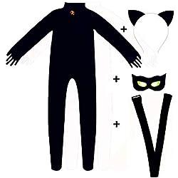 Disfraz de Gato Negro Noir para Disfraz de Catarina, Halloween, Fiesta de Navidad, Overol para niños, superhéroe, Disfraz de superhéroe, Negro, XS:90CM-100CM