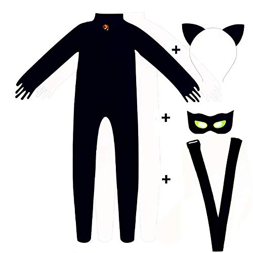 dingli Black Cat Noir Cosplay Costume Ladybug Halloween Christmas Party Jumpsuit for Boys Marinette Superhero Cosplay Dress -