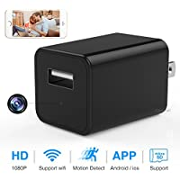 Hidden Spy Camera - 1080p HD - WiFi Remote View - Motion Detection - Charging Phones (Support 64G Micro SD Card)