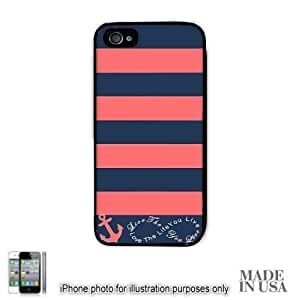 Anchor Live the Life You Love Infinity Quote - Navy Coral Nautical Stripped with Anchor iPhone 4 4S Case - BLACK RUBBER by Unique Design Gifts [MADE IN USA]