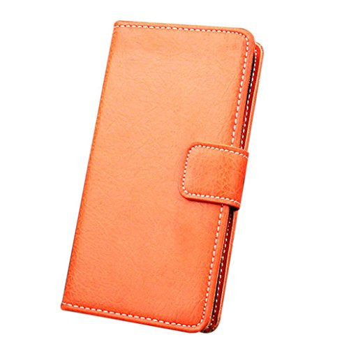 For iPhone 7 Plus Case, HP95(TM) Luxury PU Leather Flip Wallet & Card Case Cover For iPhone 7 Plus 5.5Inch (Orange) (Iphone Cs Spigen Plus 6)