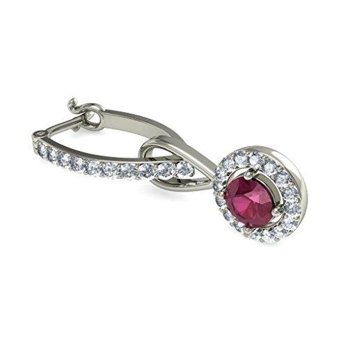 14K Or blanc 0,55CT TW Round-cut-diamond (IJ | SI) et rubis Boucles d'oreilles créoles