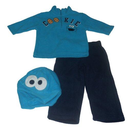 Sesame Street Baby Boys' 3 Piece Cookie Monster Fleece Set, Blue, 24 (Cookie Monster Fleece)
