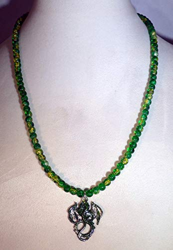 Green and silver stardust dragon and green crystalline glass beaded necklace (1637)