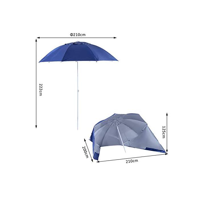 41pEpAAJu L ✅Sombrilla 2 en 1: Parasol tradicional + Tienda espaciosa con paneles laterales paravientos. Equipado con 5 ganchos y 1 lazo D para mayor fijación. ✅Cubierta de tela poliéster de alta calidad con revestimiento UV50, que protege eficazmente contra el sol y los rayos UV. Resistente a las inclemencias del tiempo. ✅Cubierta de tela poliéster de alta calidad con revestimiento UV50, que protege eficazmente contra el sol y los rayos UV. Resistente a las inclemencias del tiempo.