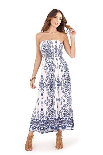 Print Tube Maxi Dress (Martildo Fashion, Ladies Bandeau Strapless Tropical Floral Maxi Dress, Blue Paisley, X-Large (UK 20-22))