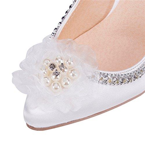 Kevin Moda Zms1509 Donna Catene Strass Da Sposa In Raso Festa Nuziale Scarpe Da Ballo Bianco