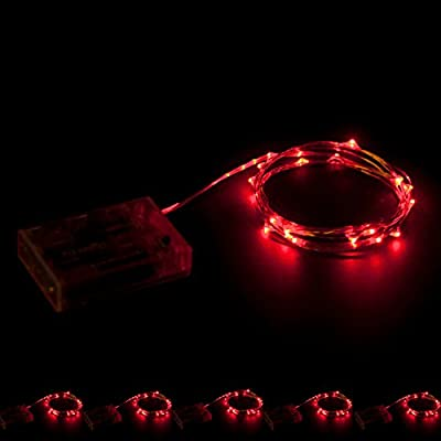 RTGS Products Red Colored LED Lights Indoor Outdoor String Lights, Fairy Lights Battery Powered Patio, Bedroom, Holiday Decor, etc