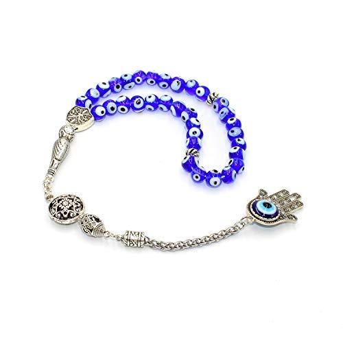 ALBATROSART Design -Special Evil Eye Beaded Collection Worry Beads - Prayer Beads (8 mm-33 Beads) Tesbih-Tasbih-Tasbeeh-Misbaha-Masbaha-Subha-Sebha-Sibha-Rosary (Blade in The Blue) ()