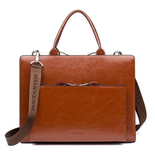 Standard Elevator Phone Box - BOSTANTEN Leather Briefcase Shoulder Laptop Business Vintage Slim Bags for Men & Women
