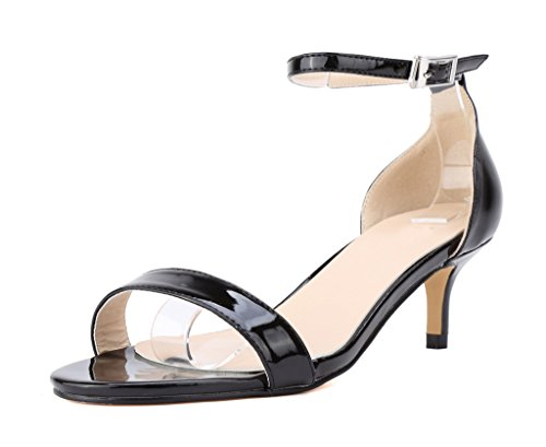 CAMSSOO Open Sandals Women's PU Toe Buckle Heel Kitten Pumps Black Ankle Strap RR6wg5qrz