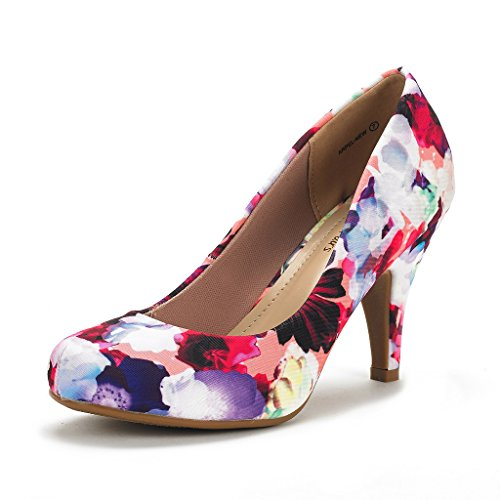 DREAM PAIRS ARPEL Women's Formal Evening Dance Classic Low Heel Pumps Shoes New Floral Size 6