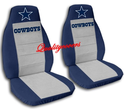 Front and Rear Cowboys Seat Covers. Navy Blue and Silver. 40/20/40 Front Seats, 60/40 Split Rear Bench. Side AirbagFriendly, Separate Headrest Covers and 4 Seat Belt Covers