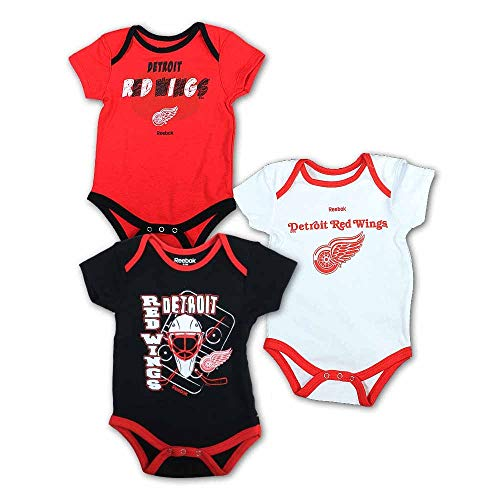 Detroit Red Wings Newborn/Infant 3-Piece Onesie Set, Red, Infant 0-3 Months