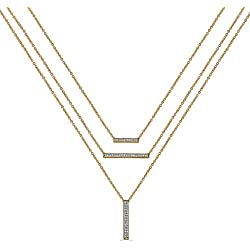 Jewelili 10KT Yellow Gold Diamond with Emerald Layered Bar Necklace