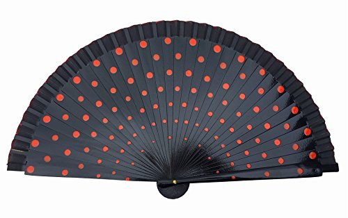 La Señorita Spanish Flamenco Fan wood Hand Fan Dress costume black with red dots (Spanish Dots)