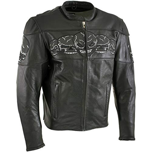 Xelement '3 Skull Head' BXU6050 Men's Black Leather Motorcycle Jacket with X-Armor Protection - X-Large