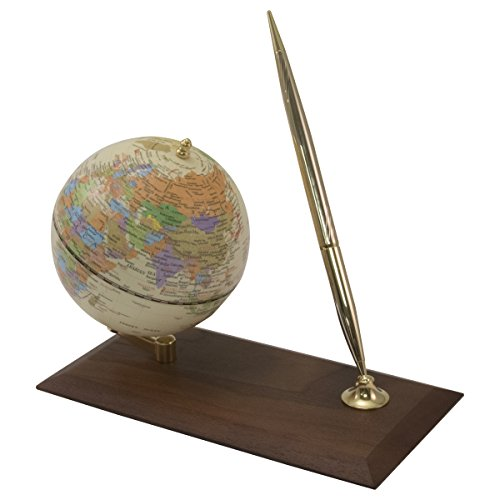 Advantus Desktop Globe with Pen Holder/Stand, Wood Base - Desk Advantus