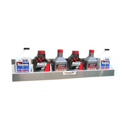 Pit Posse Oil Rack Shelf Aluminum Enclosed Race Trailer Shop Garage Storage Organizer (Silver/Unpainted)