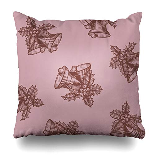 Ahawoso Throw Pillow Cover Leaf Red Berry Pattern Engraved Christmas Bells Berries Rustic Leaves Abstract Black Branch Cone Decorative Cushion Case 18x18 Inches Square Home Decor Pillowcase