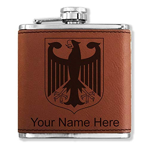 - Faux Leather Flask, Coat of Arms Germany, Personalized Engraving Included (Dark Brown)