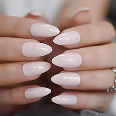 LANGMAN Uñas Postizas Lady Light Pink Fake Nail Stiletto ...