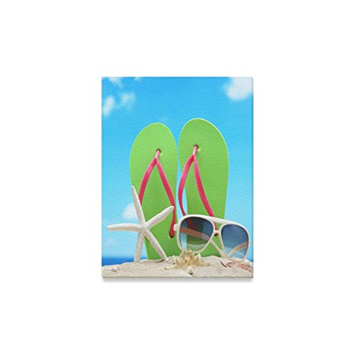 Canvas Print Valentine's Day Gifts Sunglasses Flip Flops Starfish On Beach Design Modern Wall Art for Home Room Office Decoration (12x16 - Sunglasses Nc Charlotte