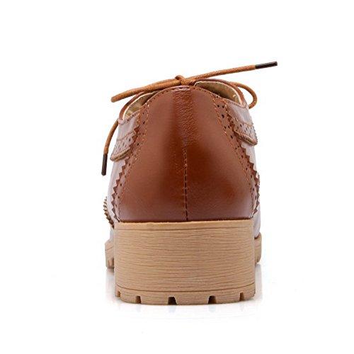 AgooLar Damen Schnüren Rund Zehe Niedriger Absatz PU Rein Pumps Schuhe Braun