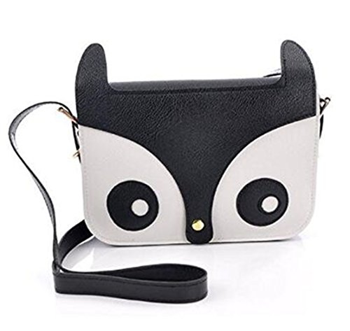 Animal Fox Cute PU Owl Handbag Satchel Crossbody Leather Black RuiChy q0p5ww