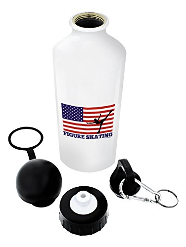 (American Pride Figure Skating United States Flag Gift Aluminum Water Bottle with Cap & Sport Top Blue)