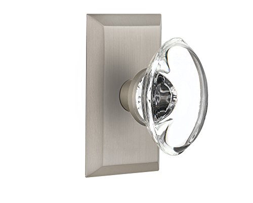 Nostalgic Warehouse Studio Plate with Oval Clear Crystal Glass Knob, Single Dummy, Satin Nickel