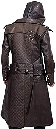 Stylish Legacy Men's Assassin Brown Genuine Leather Trench Costume