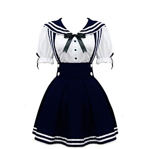 Cos StoreWomen's Navy Sailor School Girl Uniform Dress Japanese Anime Cosplay Costumes (S, Deep Blue) -