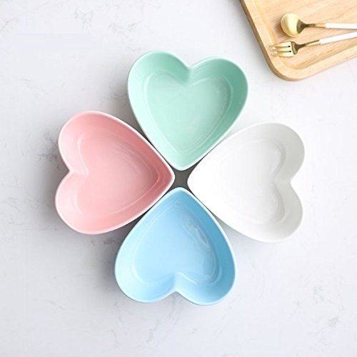 Stock Show 1PC Lovely Heart Shape Ceramic Bowl Tableware, Macarons Color Procelain Kitchen/Restaurant/Caf¨¦ Shop Food Holder Container for Ice Cream/Fruit/Snack/Dessert(Green)