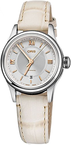 Oris Classic Date Stainless Steel 28.5mm Womens Watch with Beige Leather Strap 56177184071LS